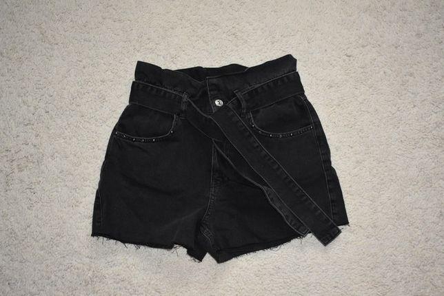 Spodenki jeansowe z wiązanym paskiem r. S