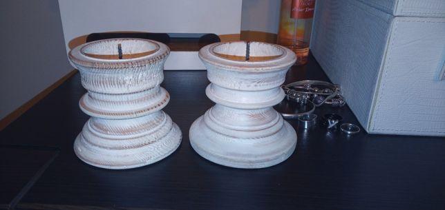 rękodzieło świecznik drewniany