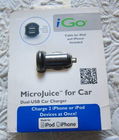 Ładowarka samochodowa z kablem Iphone 4, 4s, Ipod touch, nano.Nowaa.a