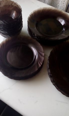 talerze komplet duralex brązowe