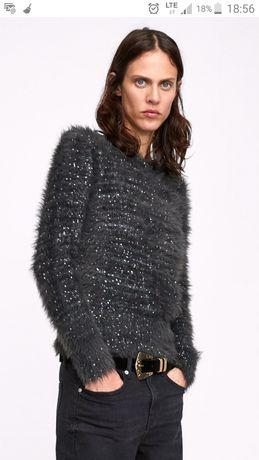 ZARA sweter M L szary z cekinami / włochaty