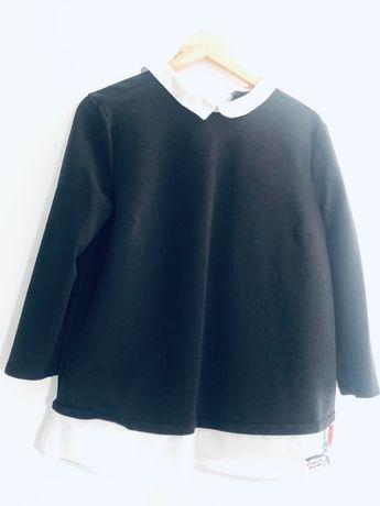 Czarna bluzka Mohito z bialym kolnierzykiem i haftem L