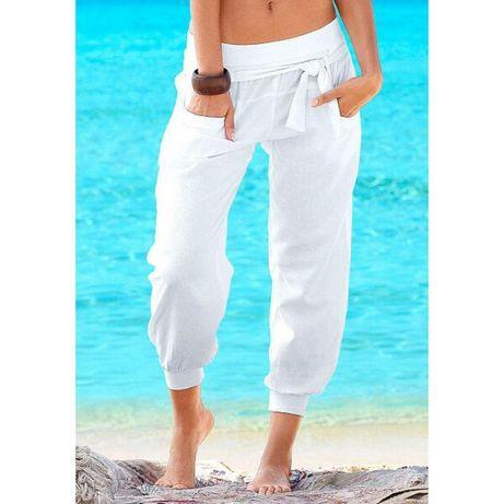 Новые белые летние штаны высокой посадки льняные хлопковые