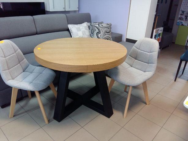 Stół okrągły loftowy dębowy LOFT, krzesła, industrialny noga metalowa.