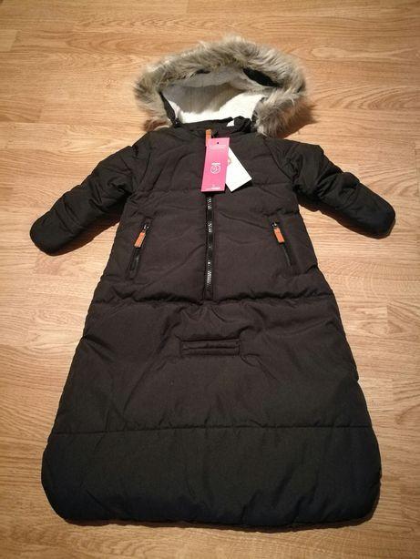 Czarny kombinezon niemowlęcy śpiwór zimowy 68 cool club Smyk