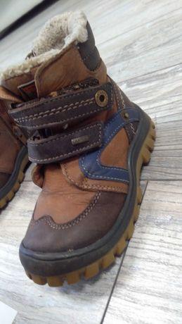 Buty zimowe ocieplane rozm. 23 brązowe skórzane