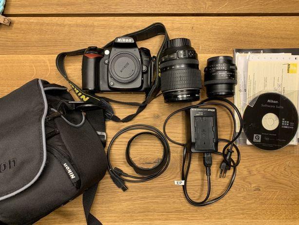Nikon d90 lustrzanka+ obiektyw nikkor 18-105+nikkor 50 1,8f