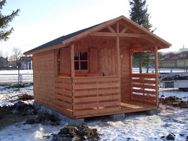 Domek drewniany rekreacyjny działkowy ogrodowy 3x4,5m z tarasem