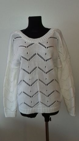 Sweter damski biały z dekoltem z tyłu, nowy, uni rozm., najtaniej