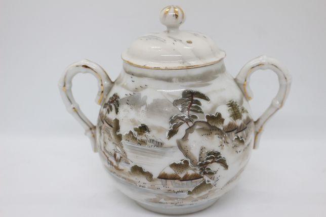 Açucareiro Porcelana Oriental Paisagem Cinza Casca de Ovo XIX