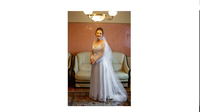 Suknia ślubna z długim trenem + welon gratis