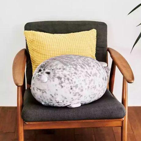 Игрушка- подушка плюшевый тюлень с 3D печатью, оригинальный подарок.