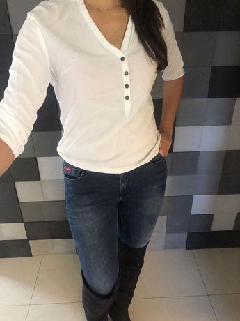 Koszula bluzka biała rozpinana rękaw M