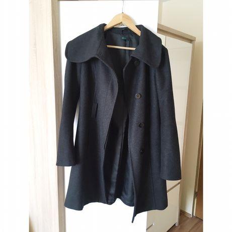 Wełniany płaszcz szary płaszcz benetton M L XL