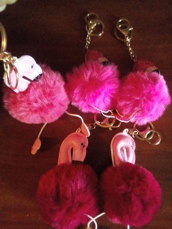 Брелки, Мягкая игрушка. Подвеска на карабине. Фламинго. Подарок.