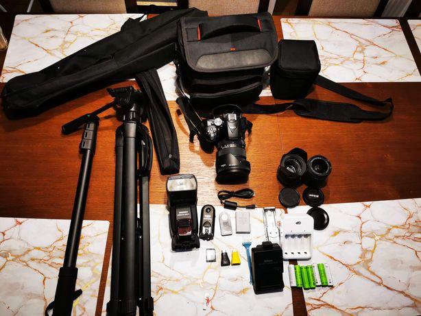 Aparat Nikon D5300 zestaw, obiektywy, akcesoria