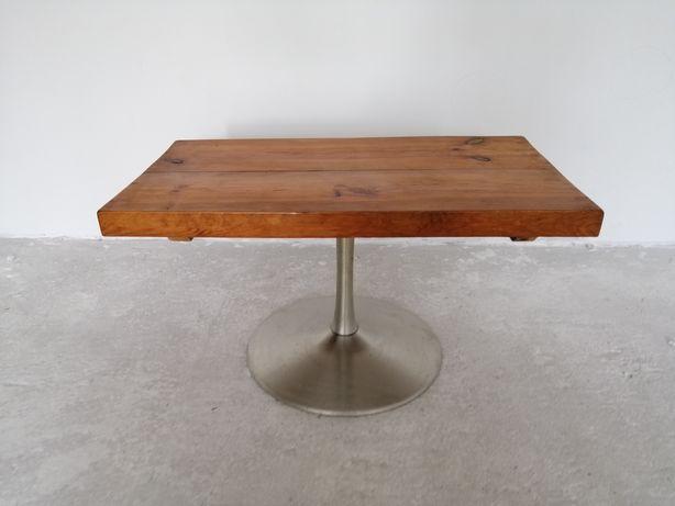 Stolik obrotowy drewno, aluminium, loftowy