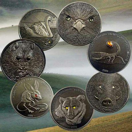 """Набор монет серии""""Защита дикой природы"""" 500 Тугриков Монголия"""