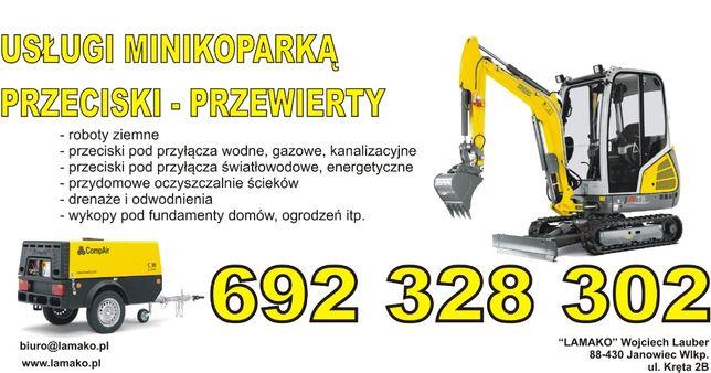 Usługi mini koparką roboty ziemne - przeciski -kret do 220mm