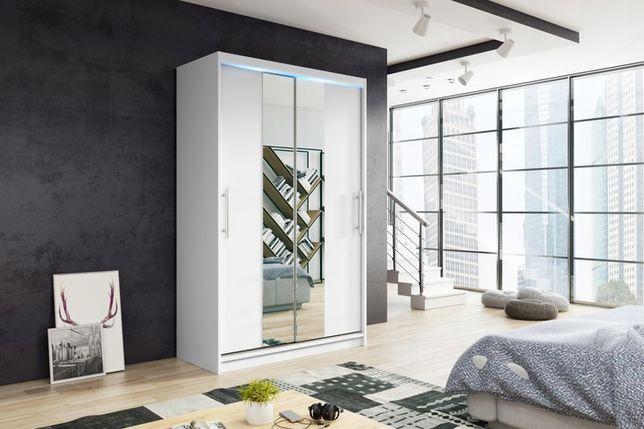 Szafa przesuwna 110cm NIKO2 półki z lustrem biała/wenge/dąb sonoma