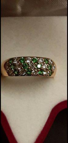 золотое женское кольцо с фианитами 585 проба украина