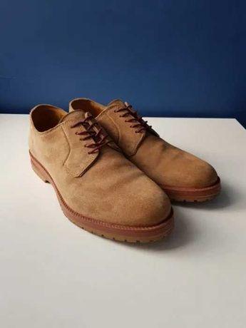 Buty eleganckie, zamszowe, kamelowe, męskie, ZARA, używane, rozmiar 40