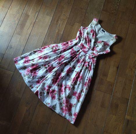 Платье (сарафан) в цветочный принт с декольте фирмы F&F
