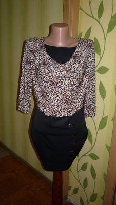 Женское красивое платье с леопардовыми принятом р.S/М