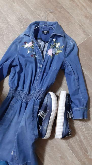 Платье джинсовое+ слыпы одним лотом