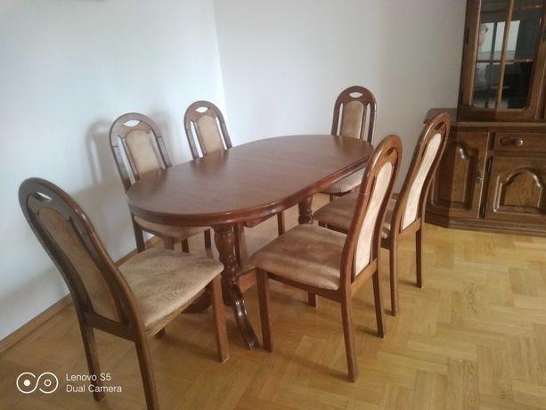 Zestaw stół dębowy rozkładany + 6 krzeseł