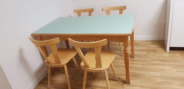 Stół 120/80 + 4 krzeseła z drewna