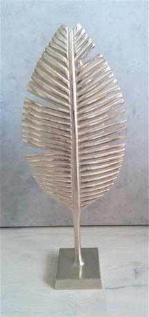 Srebrna duża figurka liść metalowa figurka kolekcjonerska