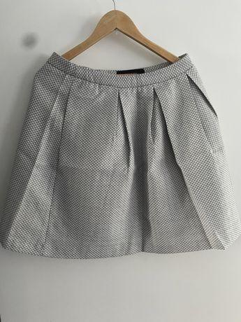 Spódnica szara pepitka reserved z podszewką biurowa rozkloszowana L 40