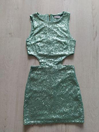 Sukienka mini cekinowa cudowna XS