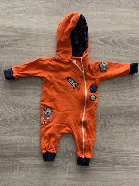 Pajac z kapturem rozpinany 51015 bawełniany bluza spodnie śpioch