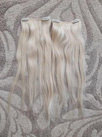 Naturalne włosy jasny blond clip in na spinki dwie taśmy 43 cm