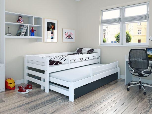 Łóżko podwójne DUOmi PLUS wysuwane z szufladą i barierkami dla dziec
