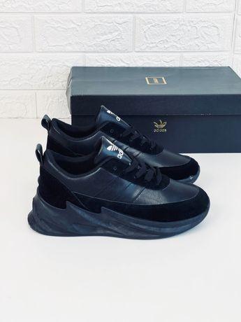 Кроссовки Adidas Sharks кожаные черные кросовки Адидас Акулы