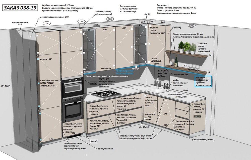 Проект кухни в PRO100 дизайн Кривой Рог - изображение 1