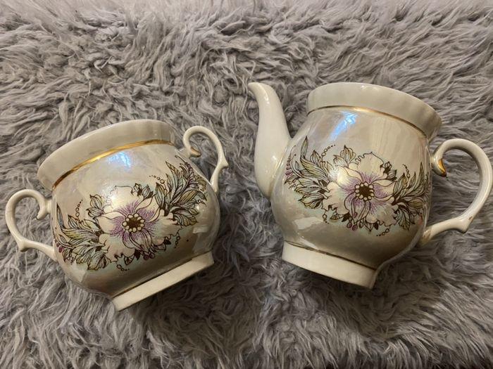 Набор винтаж сахарница и чайник с крышками СССР Ирпень - изображение 1