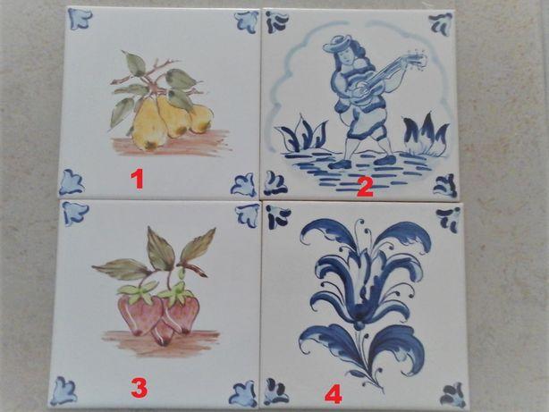 LOTE 2 - Azulejos Pintados à Mão - 15 x 15 cm - A Imitar antigos