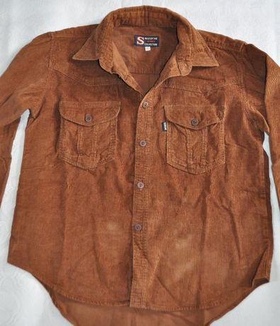 koszula chłopięca r.140/146 sztruksowa czekoladowa długi rękaw