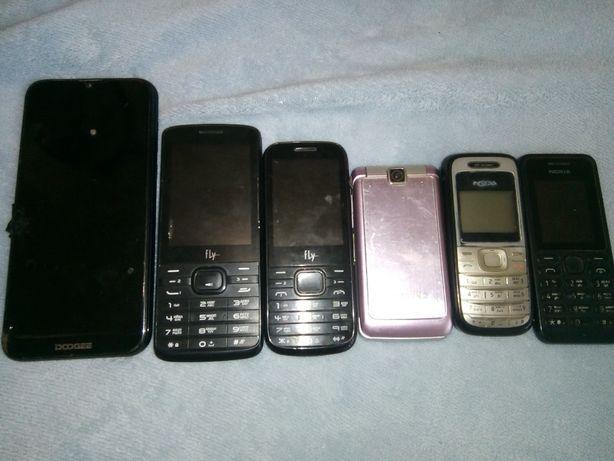 Кнопочные телефоны Nokia, Samsung, Fly, Dodgee не рабочие