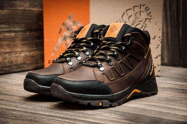 Мужские зимние кожаные ботинки Columbia NS Black/Chocolate