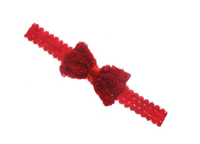 Opaska z kokardką w różyczki czerwona na koronkowej gumce