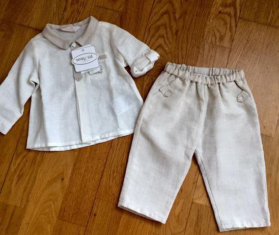 Набор для мальчика Mayoral лен 2-4 месяца штаны и рубашка для крещения