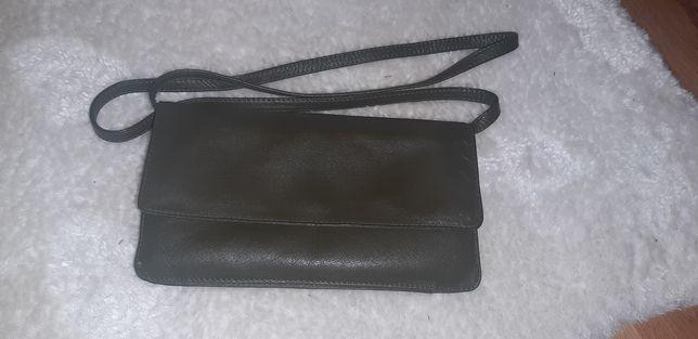 mała torebka skórzana kopertówka skóra khaki oliwkowa