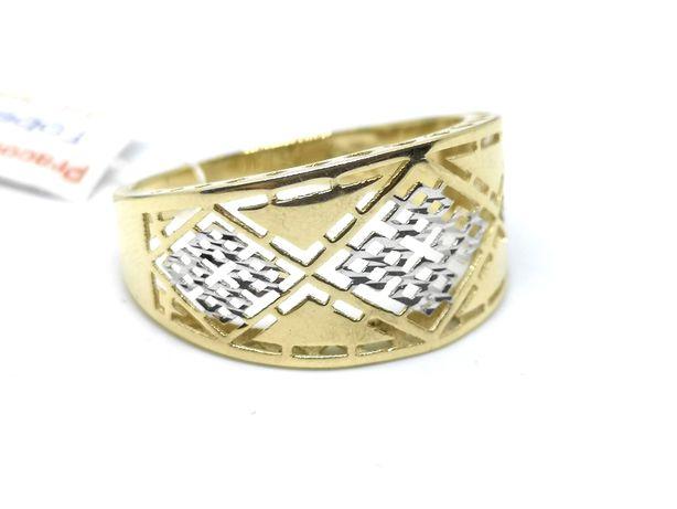 Złoty pierścionek 585 nowy ażurowy z białym złotem