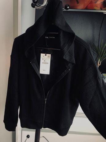 Czarna bluza z kapturem ZARA r. S