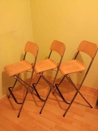 Krzesło taboret stołek barowy składany z oparciem IKEA Franklin 3szt.